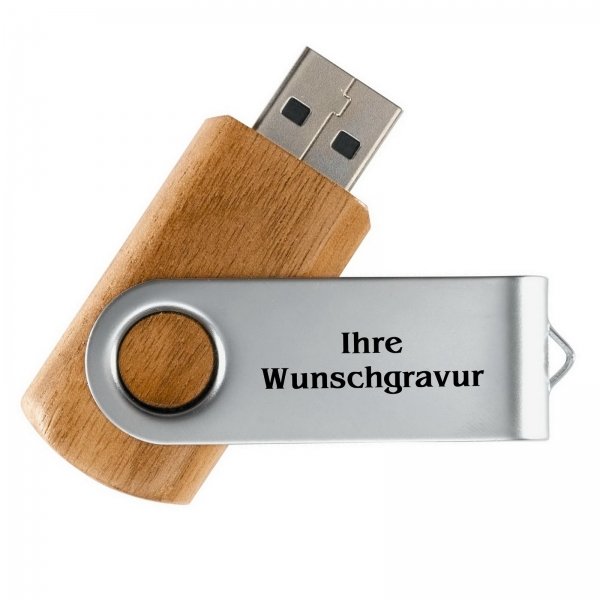 laserfein usb stick buche holz mit wunschgravur usb. Black Bedroom Furniture Sets. Home Design Ideas